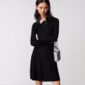 ZARA Knit Dress with Contrasting Lapel Collar